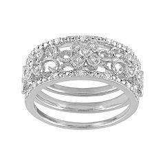Diamond Flower Engagement Ring Set in Sterling Silver (1/10 Carat T.W.)