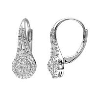 1/4 Carat T.W. Diamond Sterling Silver Halo Drop Earrings