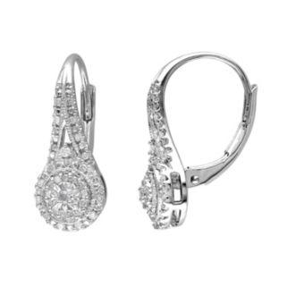 1/4 Carat T.W. Diamond Sterling Silver Halo Drop Earrings