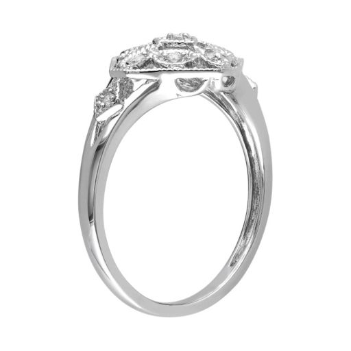 Diamond Accent Sterling Silver Openwork Ring