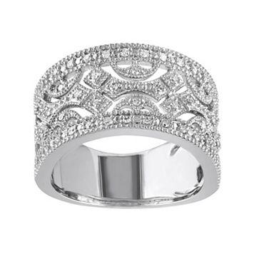 1/4 Carat T.W. Diamond Sterling Silver Geometric Openwork Ring