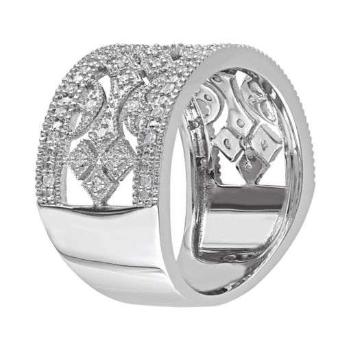 1/4 Carat T.W. Diamond Sterling Silver Geometric Openwork Ring