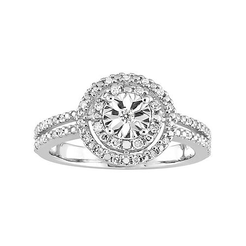 Stella Grace 1/5 Carat T.W. Diamond Sterling Silver Halo Ring