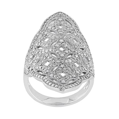 1/4 Carat T.W. Diamond Sterling Silver Filigree Ring
