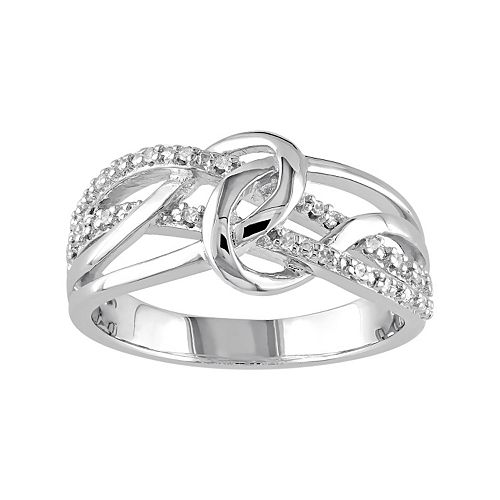 1/10 Carat T.W. Diamond Sterling Silver Loop Ring