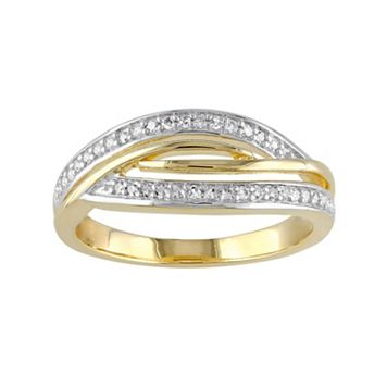 1/8 Carat T.W. Diamond Two Tone Sterling Silver Twist Ring