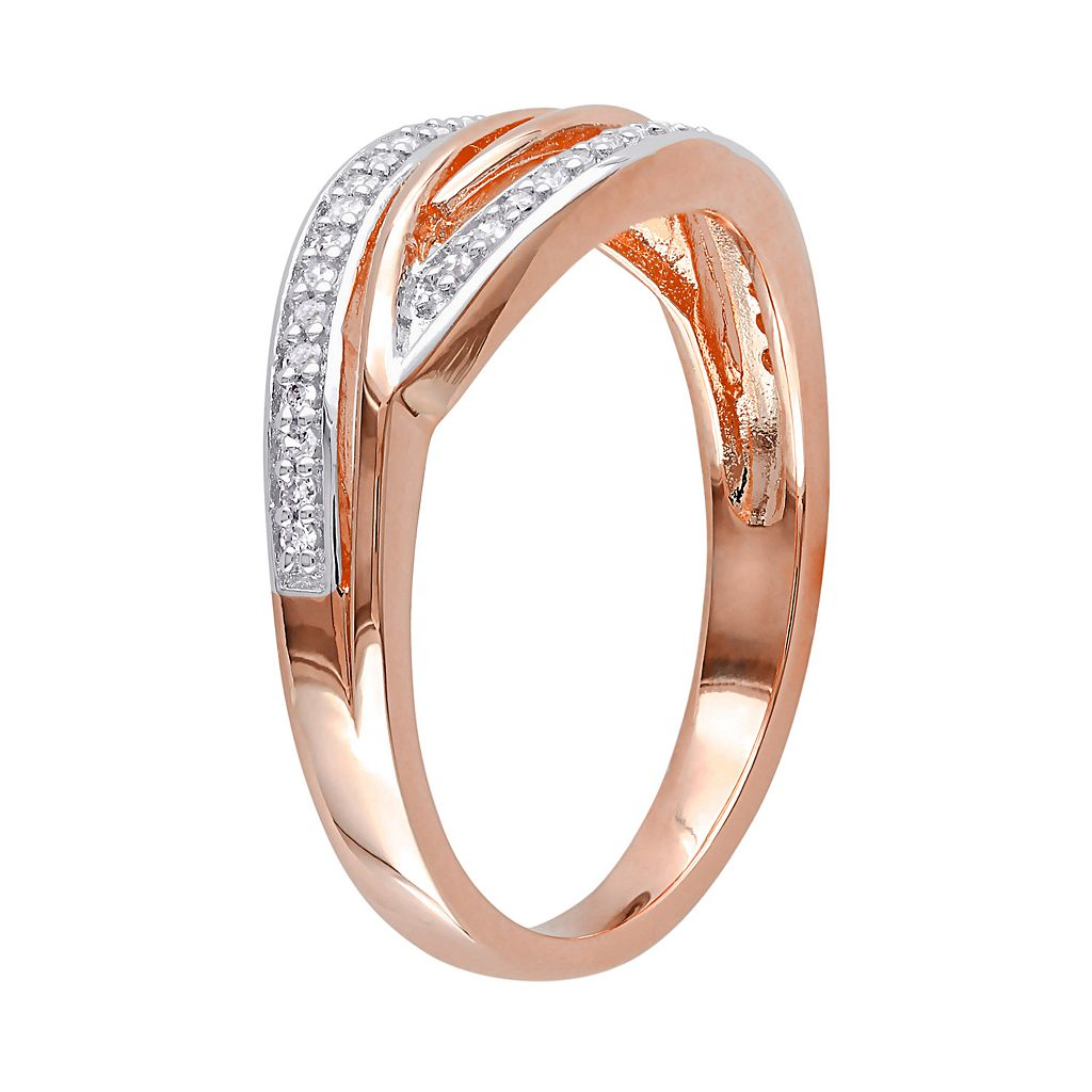 1/8 Carat T.W. Diamond Pink Rhodium-Plated Sterling Silver Twist Ring