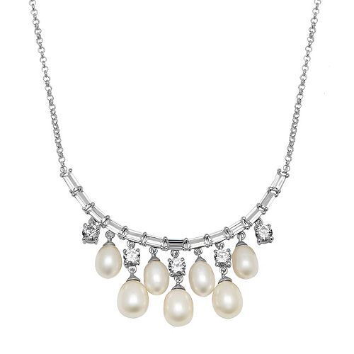 Simply Vera Vera Wang Freshwater Cultured Pearl & Lab-Created White Sapphire Sterling Silver Necklace