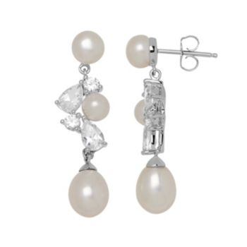 Simply Vera Vera Wang Freshwater Cultured Pearl & Lab-Created White Sapphire Sterling Silver Cluster Drop Earrings