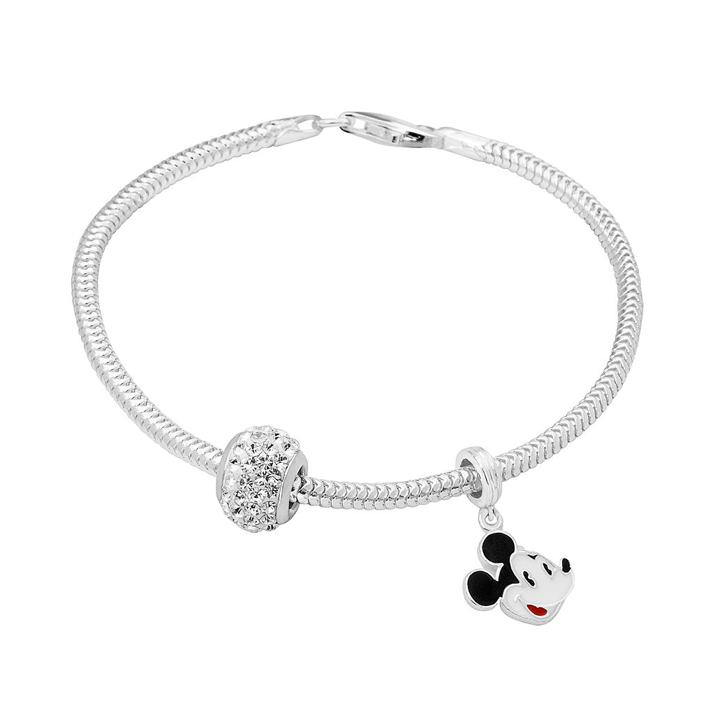 Disney's Mickey Mouse Charm, Crystal Bead & Bracelet Set
