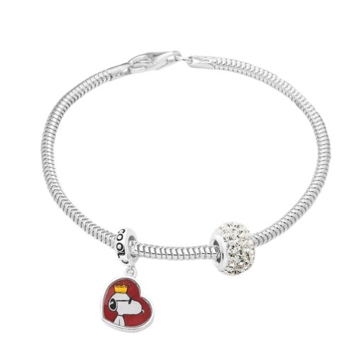 Snoopy Charm, Crystal Bead & Bracelet Set