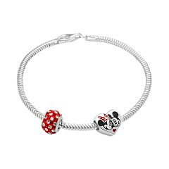 Disney's Minnie & Mickey Mouse Crystal Bead & Bracelet Set