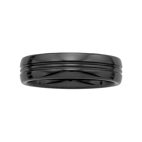 Men's Black Ceramic Grooved Wedding Band