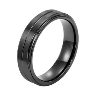 Men's Black Ceramic Double Row Wedding Band
