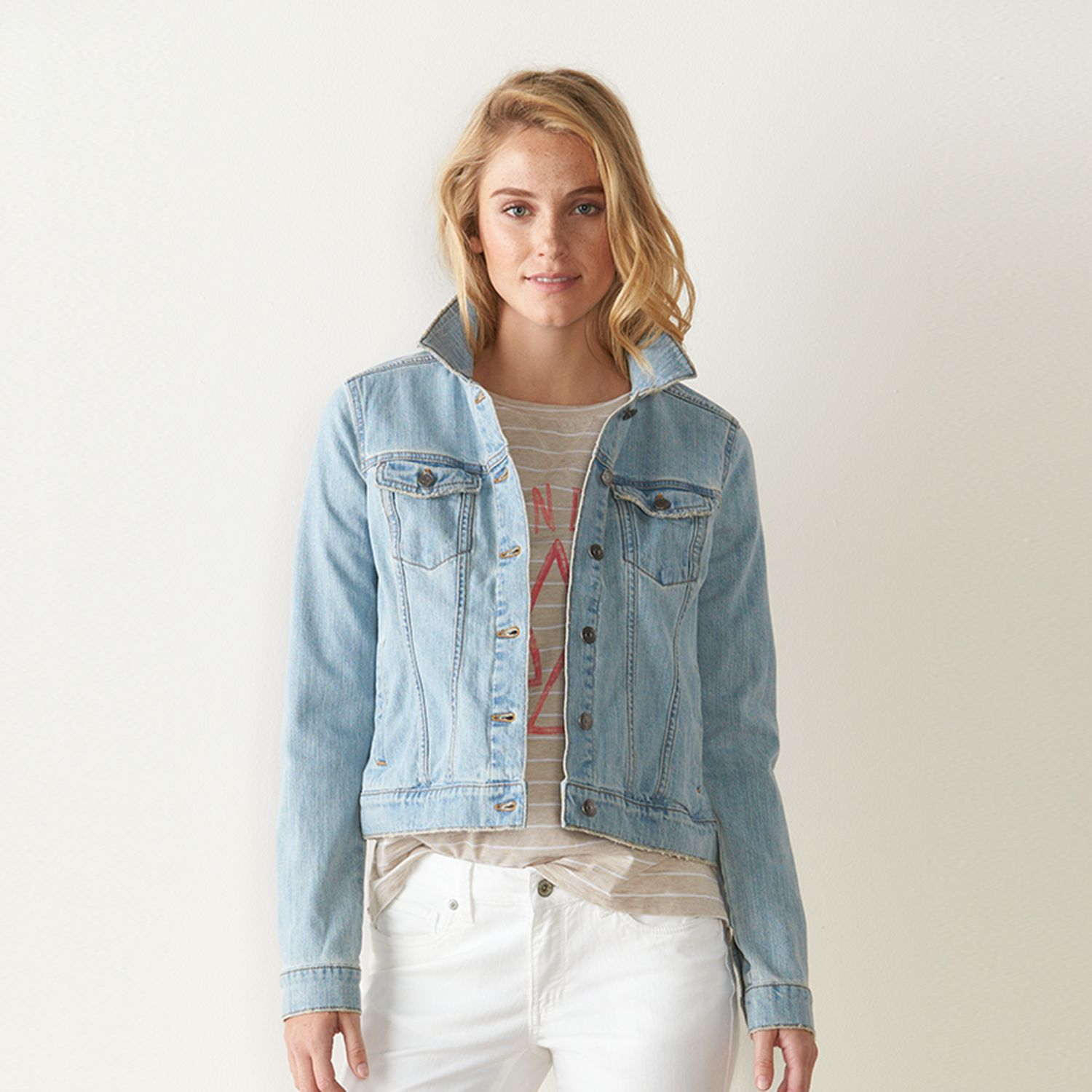 Womens SONOMA Goods for Life? Destructed Jean Jacket