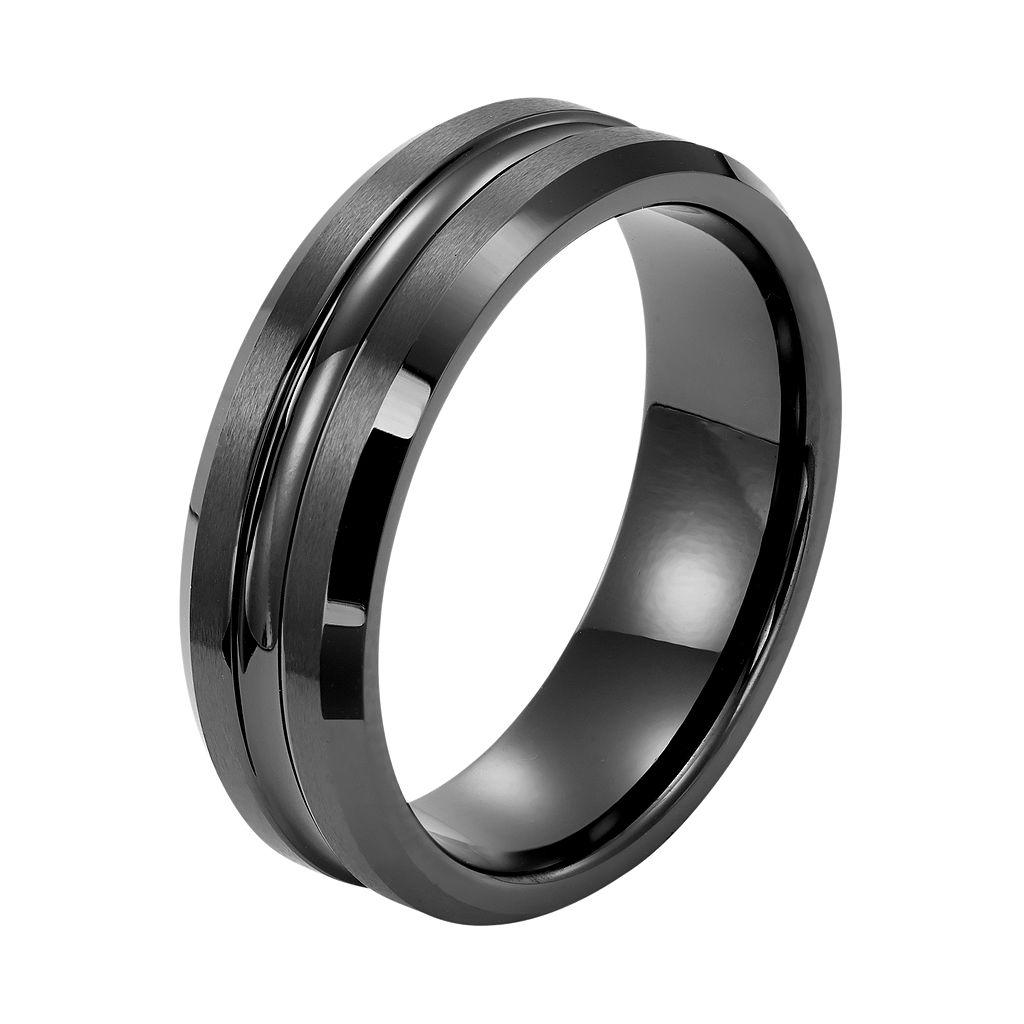 Men's Black Ceramic Concave Wedding Band