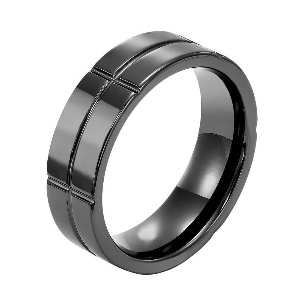 Men's Black Ceramic Grid Wedding Band