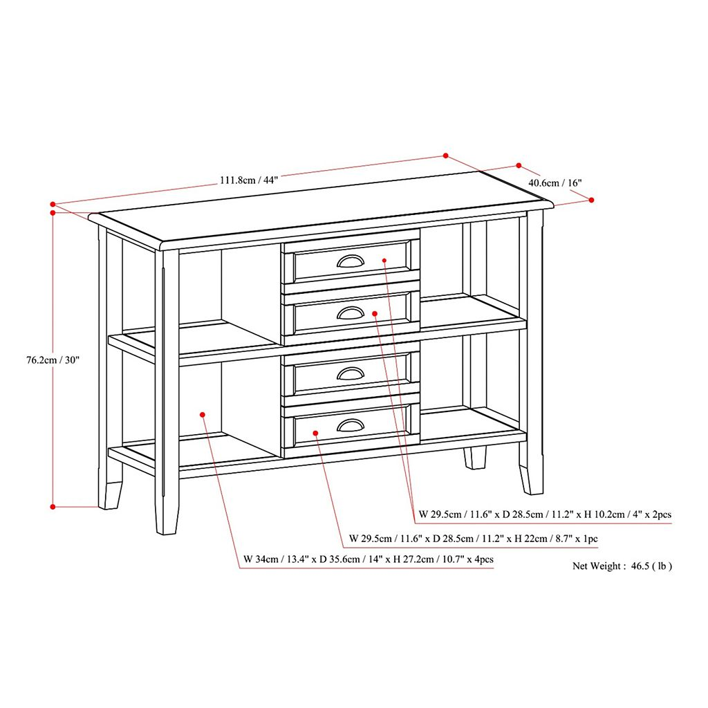 Simpli Home Burlington Console Sofa Table