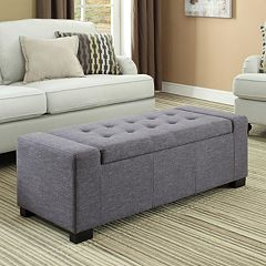 Simpli Home Laredo Slate Gray Rectangular Storage Ottoman Bench