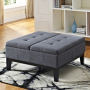Simpli Home Dover Slate Gray Square Coffee Table Ottoman and Split Lift Up Lid