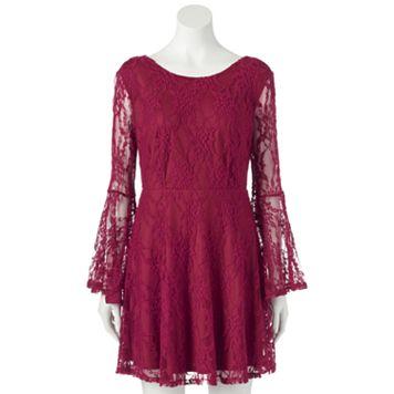 Juniors' Ultra Pink Bell Sleeve Lace Skater Dress