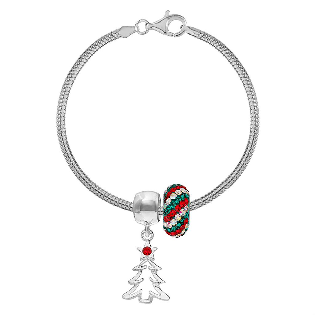 Individuality Beads Crystal Sterling Silver Bracelet, Christmas Tree Charm & Bead Set