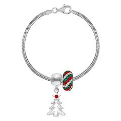 Individuality Beads Crystal Sterling Silver Bracelet Christmas Tree Charm Bead Set