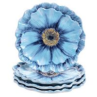Certified International Tuileries Garden 3D Poppy 4-pc. Dessert Plate Set