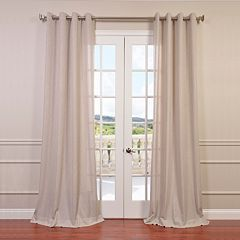 EFF 1-Panel Solid Faux-Linen Window Curtain