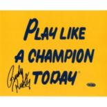 "Steiner Sports Notre Dame Fighting Irish Rudy Ruettiger Play Like A Champ 8"" x 10"" Signed Photo"