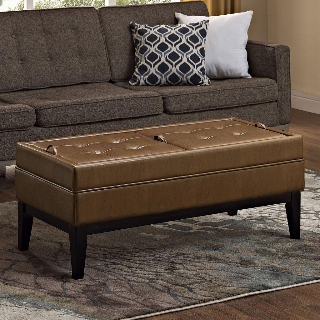 Simpli Home Castlerock Large Rectangular Storage Ottoman Bench
