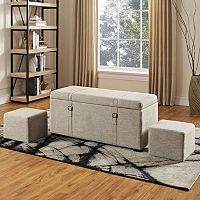 Simpli Home Dorchester 5 pc Faux-Linen Storage Ottoman Set