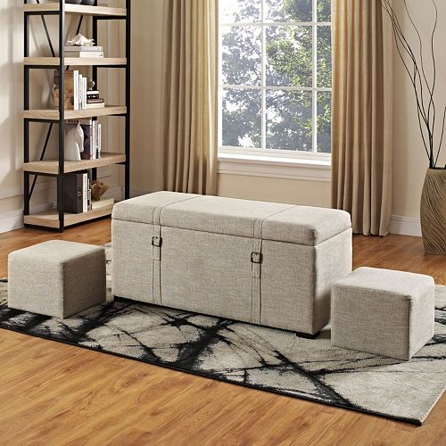 Simpli Home Dorchester 5-piece Faux-Linen Storage Ottoman Set
