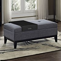 Simpli Home Oregon 2 pc Storage Ottoman and Tray Set