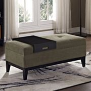 Simpli Home Oregon 2 pc Chenille Storage Ottoman Bench and Tray Set
