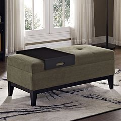 Simpli Home Oregon 2-piece Chenille Storage Ottoman Bench and Tray Set