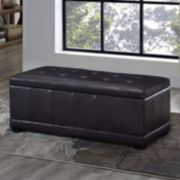 Simpli Home Westchester Faux-Leather Storage Ottoman