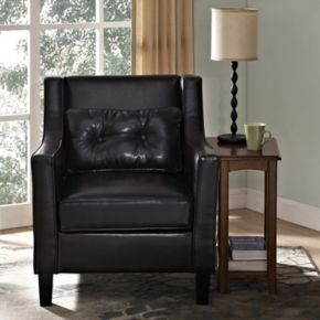Simpli Home Ashland Faux-Leather Club Arm Chair