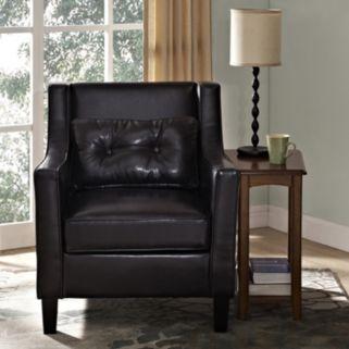 Simpli Home Ashland Faux-Leather Club Arm Chair