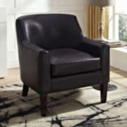 Simpli Home Pauline Faux-Leather Club Arm Chair