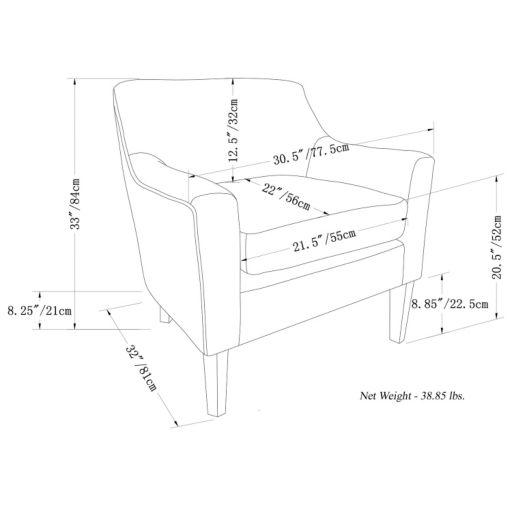 Simpli Home Pauline Faux-Leather Club Arm Chair