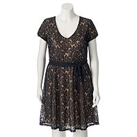 Juniors' Plus Size Wrapper Cap Sleeve Lace Dress