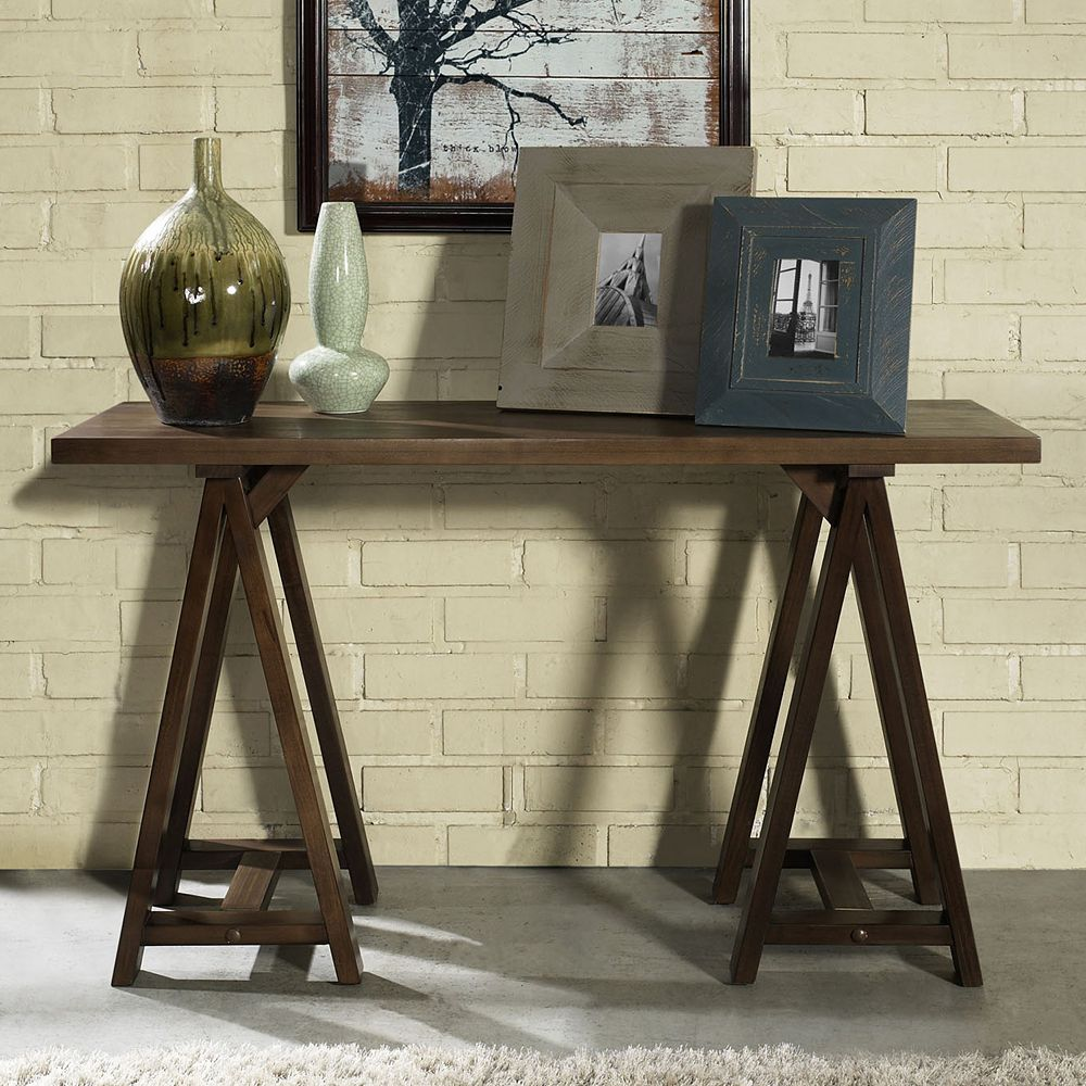Sawhorse Console Table Image Collections Coffee