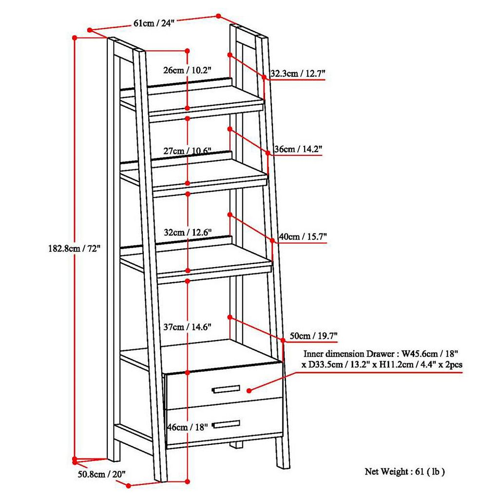Simpli Home Sawhorse Ladder Storage Bookshelf