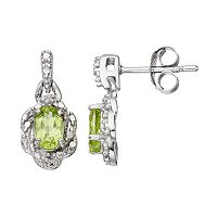 RADIANT GEM Peridot Sterling Silver Flower Drop Earrings