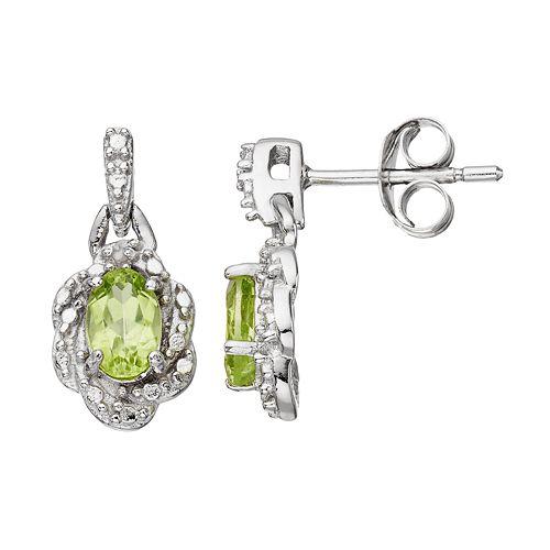 RADIANT GEM Peridot Sterling Silver Flower Drop Earrings