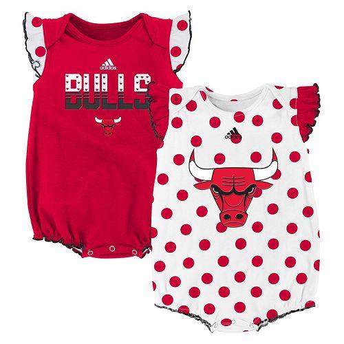 detailed look a8eef 87c24 Baby Girl adidas Chicago Bulls Polka-Dot Bodysuit Set