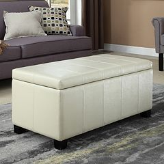 Simpli Home Dover Rectangular Storage Ottoman Bench