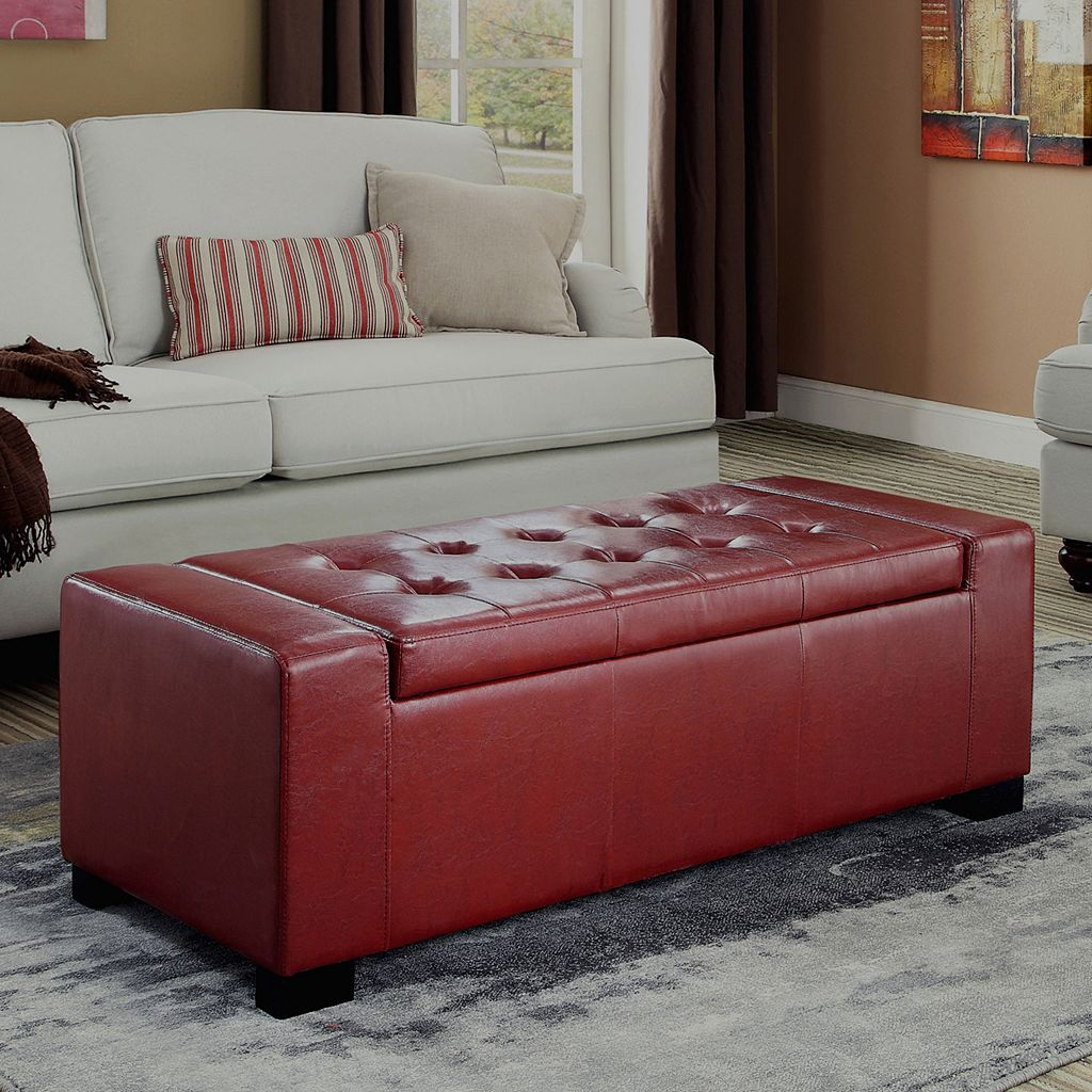 Simpli Home Laredo Rectangular Storage Ottoman Bench