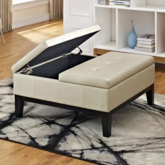 Simpli Home Dover Square Coffee Table Ottoman and Split Lift Up Lid